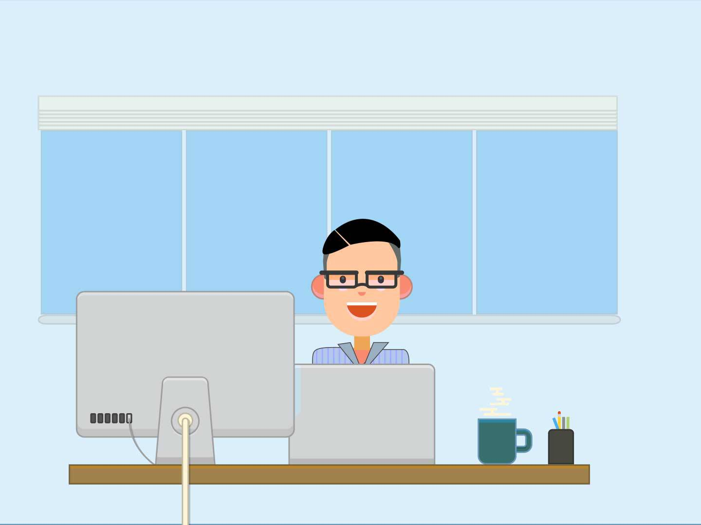 illustration showing a professional contractor at his workspace